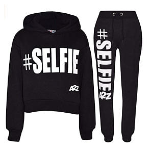#Selfie Print Hooded Crop and Joggers