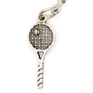Silver Keyring With Tennis Racket & Ball