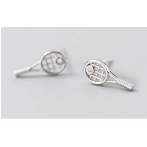 Sterling Silver Tennis Racket Stud Earrings