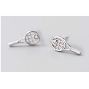 Sterling Silver Tennis Racket Stud Earrings