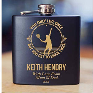 Male Tennis Player Engraved Hipflask