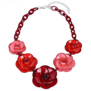 Vintage Red Rose Flower Pendant
