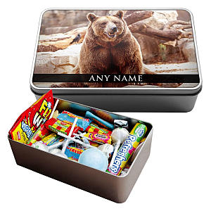 Personalised Grizzly Bear Sweet Tin