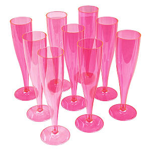 10 X Pink Plastic Champagne Flutes