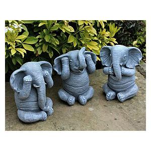 3 Wise Elephants Garden Ornaments