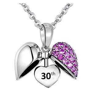 30th Birthday Heart Charm Necklace