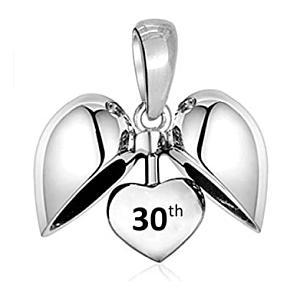 30th Birthday Silver Heart Charm