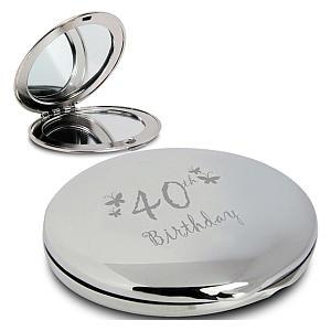 40th Birthday Round Compact Mirror