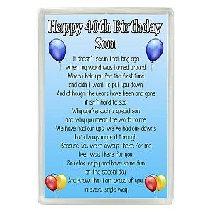 40th Birthday Son Poem Fridge Magnet