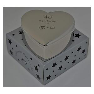 40th Silver Finish Heart Box