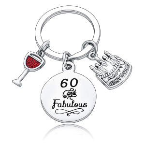 60 And Fabulous Keychain