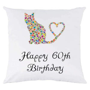 60th Birthday Cat Cushion Cover