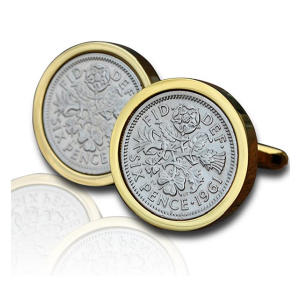 60th Birthday Gold Sixpence Coin Cufflinks