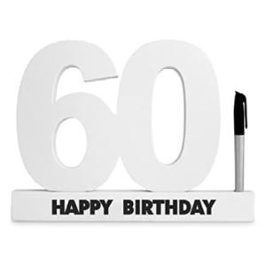 60th Birthday Wooden Signature Number