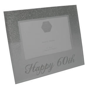 60th Silver Glitter Photo Frame