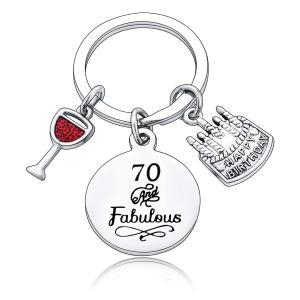 70 And Fabulous Charm Keyring
