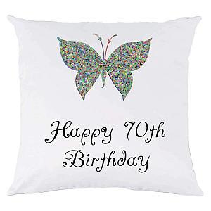 70th Birthday Butterfly Cushion