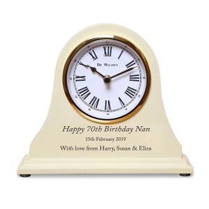 70th Birthday Engraved Wooden Clock