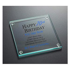 70th Birthday Glass Coaster
