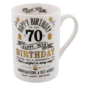 70th Birthday Silver And Gold Signography Mug