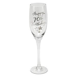 70th Birthday Stars Champagne Flute