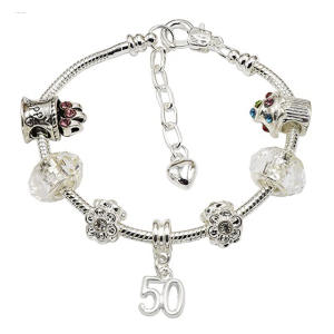 70th Silver Plated Charm Bracelet