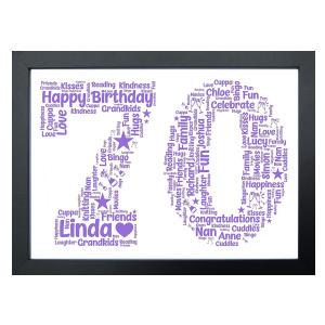 70th Word Art Keepsake Print