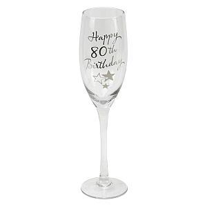 80th Birthday Champagne Flute Glass