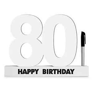 80th Birthday Wooden Signature Number