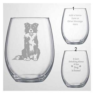 Border Collie Stemless Wine Glass