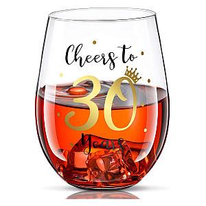 Cheers 30th Birthday Stemless Wine Glass