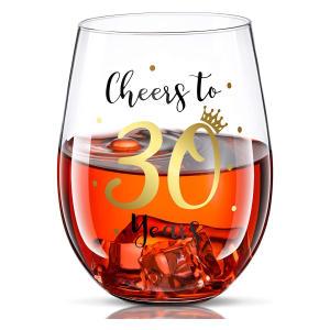 Cheers to 30 Birthday Stemless Wine Glass