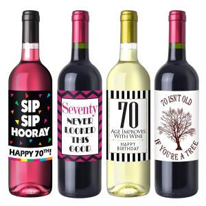 Chic 70th Birthday Wine Label Pack