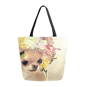 Chihuahua Butterfly Canvas Tote Bag