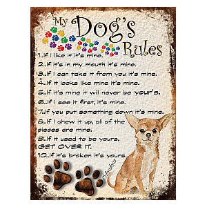 Chihuahua Rules Retro Plaque