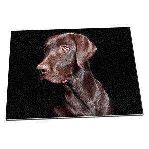 Chocolate Labrador Glass Chopping Board