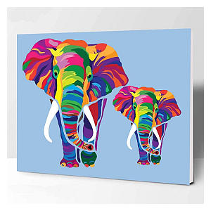 Colorful Elephants Paint by Numbers Kit