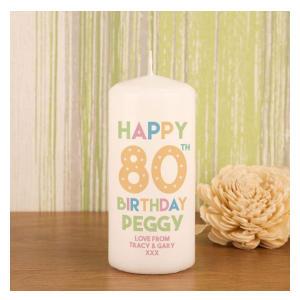 Customised 80th Birthday Block Candle