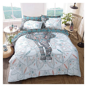 Elephant Mandala Teal Bed Reversable Quilt
