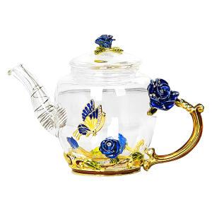 Enamel Rose Flower Butterfly Teapot
