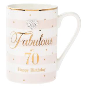 Fabulous At 70 Diamante Mug