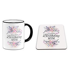 Floral Mum 80th Mug & Coaster Set