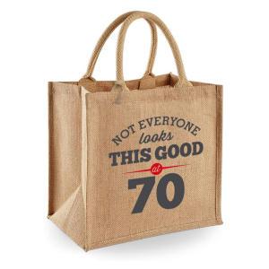 Fun 70th Natural Jute Shopping Bag