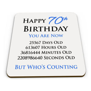 Funny 70th Drinks Coaster