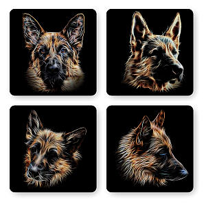 German Shepherd Set of 4 Coasters