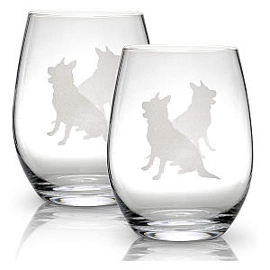 German Shepherd Stemless Wine Glasses Set