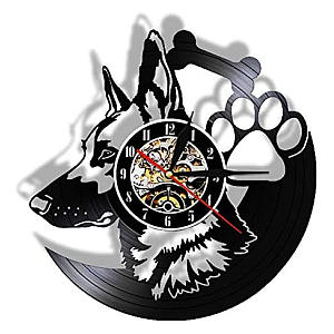German Shepherd Vinyl Wall Clock