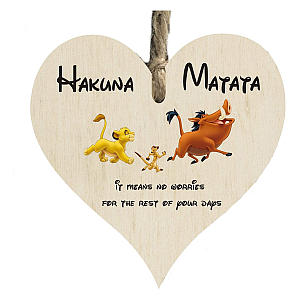 Hakuna Matata Wooden Heart Shape Plaque