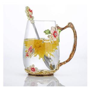 Handmade Enamel Butterfly Flower Glass Mug