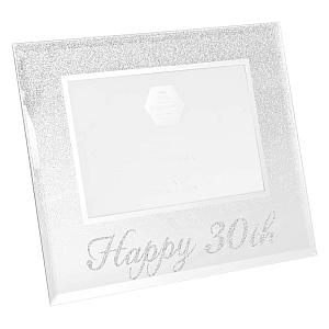 Happy 30th Silver Glitter Photo Frame